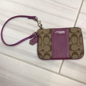 COACH purple/brown wristlet